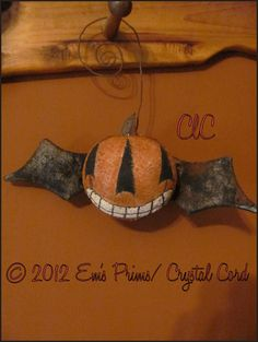 Primitive Halloween pumpkin bat ball ornament country by emsprims, $13.00
