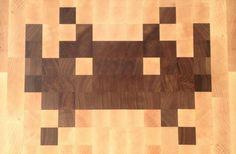 Space Invaders Handmade Cutting Board