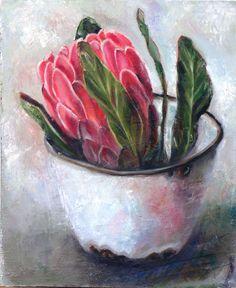 Flor Protea, Protea Art, Protea Flower, Acrylic Flowers, Oil Painting Flowers, Oil Painting Abstract, Watercolor Paintings, Flower Paintings, Still Life Art