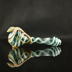 SALE Lizard Large Glass Pipe Hand Blown Thick by andromedaglass