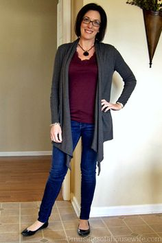 Mom Style | drapey sweater and jeans... I need a sweater like this!