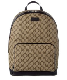 GUCCI Gucci Gg Supreme Canvas &Amp; Leather Backpack'. #gucci #bags #lining #canvas #backpacks #suede #