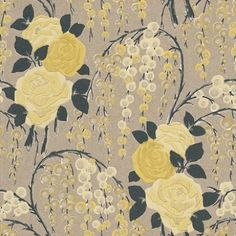 Iola Rose (75022) - Harlequin Wallpapers - An authentic vintage motif, combining the Iola design with the stylised rose of the original archive document. Shown in the yellow and black on gold. Paste the wall. Available in other colours. Please request sample for true colour match.