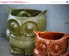 Large ceramic owl planter hand made pottery vase by claylicious, $49.50