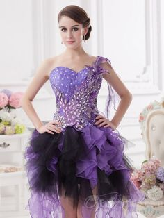 $107.99【Everytide.com Homecoming Dress】 Lovely Sheath / Column Asymmetrical One Shoulder Zip-up Organza Lavender Prom Dresses