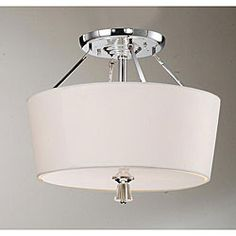 @Overstock - Add a retro touch to your home decor with this chrome ceiling lamp   Hanging lamp features a milky white shade and polished chrome body  Light uses three (3) 6-watt E26 bulbs (not included)http://www.overstock.com/Home-Garden/Crystal-Finial-Chrome-Ceiling-Lamp/4338596/product.html?CID=214117 $123.99