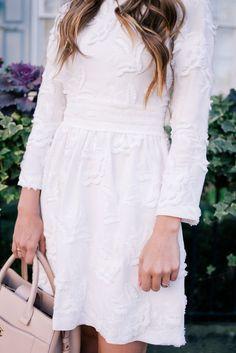 310f14d905 Gal Meets Glam White and Blue - Club Monaco dress   Chanel Bag Cute White  Dress