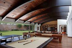 Pool Table Room, Man Cave Room, Barn Living, Game Room Design, Garage House, Next At Home, Patio Design, Building Design, Restaurant Design