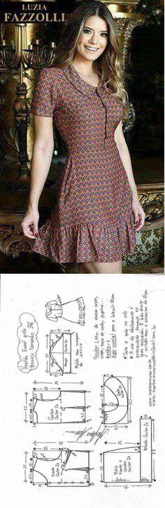 Платье с оборкой.( простые выкройки).Размер 36-56.