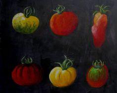 """Cette peinture représente des tomates dites """" anciennes"""" très colorées La peinture est réalisée à la gouache tempera sur un fond gris ardoise très texturé . A la fin, les tomates sont retravaillées au pastel et le tout est ciré , ce qui en fait une peinture très solide qui peut se mettre dans une cuisine Elle mesure 40 x40 cm ,est prête à être accrochée et est estampillée Ateliers d'arts de France"""