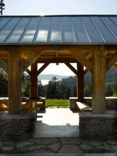 Post and beam picnic pavilion; Outdoor Sheds, Outdoor Life, Outdoor Rooms, Outdoor Gardens, Outdoor Living, Outdoor Decor, Secluded Cabin, Backyard Pavilion, Post And Beam