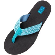 Teva Womens Mush II Flip Flop ($15) ❤ liked on Polyvore featuring shoes, sandals, flip flops, rombo blue, teva shoes, blue shoes, patterned shoes, flip flop shoes and blue flip flops