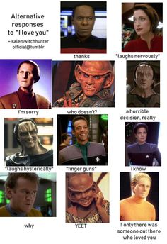 "How the crew says ""I love you"" : Deepspaceninememes This is true,love it! Star Trek Meme, Star Wars, Nana Visitor, Deep Space 9, Fandom Jokes, Disney Jokes, Star Trek Universe, Love Stars, Best Series"
