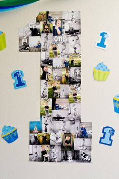 Number one covered in pictures for 1st birthday party. See more first boy birthday and party ideas at one-stop-party-ideas.com