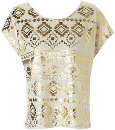 Jane Norman gold aztec print cream tshirt