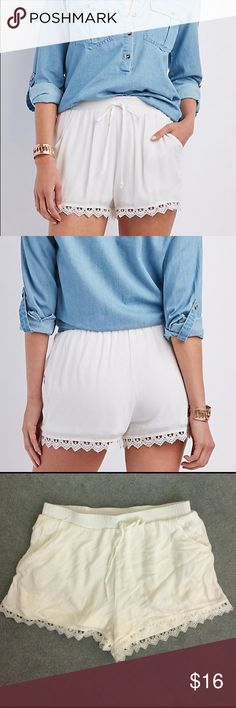 Charlotte Russe | Crochet trim shorts These shorts are a cute and comfortable closet must-have from Charlotte Russe! Size is XL. Shorts appear more off-white to cream than white in person. Crochet trim and elastic waistband. Tie in the front, & also have pockets w/ an inside layer of soft fabric. As with any white shorts, they are a tiny bit sheer but not too bad...nude or lightly colored panties work well with these shorts. Great condition -- worn once. 💋 Make offers & bundle to save 15%…