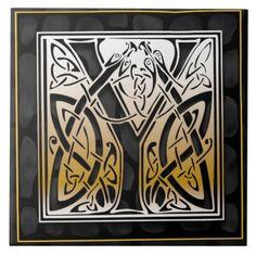 Celtic Black Stone Y Monogram Initial Tile Ceramic Tiles
