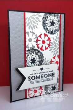 Stampin' Up! Sale-a-bration 2014 Card Idea for Petal Parade stamp set. LOVE red gray black color combo!