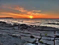 Sunset from beach at Greengate Farm / Washington Island, Door County, WI, USA Washington Island, Wi Usa, Door County Wisconsin, Fantasy Island, Amazing Spaces, North Coast, Travel Ideas, Sunrise, Explore
