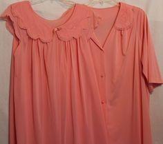 Shadowline Vintage 80s Lingerie Intimates Sleepwear Medium Peach M #ShadowLine