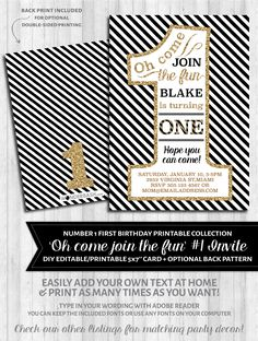 First Birthday Party Invitations - 1 - Black, white and gold glitter