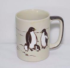 Otagiri Coffee Mug Penguins Birds Stoneware Cup Blue Beige Brown Glaze Japan #Otagiri