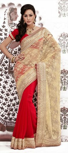 134186, Party Wear Sarees, Embroidered Sarees, Georgette, Net, Jacquard, Machine Embroidery, Resham, Stone, Patch, Zari, Red and Maroon, Beige and Brown Color Family