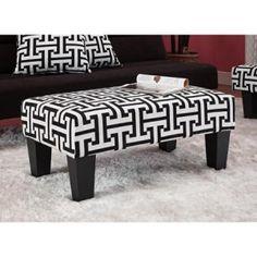 Kebo Chair & Ottoman, Black and White Geometric - Walmart.com
