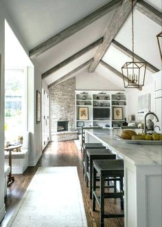 Kitchen Open Concept Layout Exposed Beams Ideas For 2019 Vaulted Ceiling Lighting, Vaulted Ceiling Kitchen, Vaulted Ceilings, Fake Beams On Ceiling, Kitchen With High Ceilings, High Ceiling Living Room, Shelves Lighting, Slanted Ceiling, Ceiling Panels
