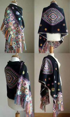 beautiful shawl - Crochet Motifs on black fleece? Shawl Crochet, Crochet Shawls And Wraps, Freeform Crochet, Love Crochet, Knitted Shawls, Crochet Granny, Crochet Scarves, Crochet Motif, Beautiful Crochet