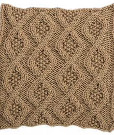 Seed Stitch Diamonds Square for Knit Your Cables Afghan Knitting Pattern   Red Heart