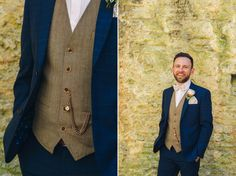Groom wears a navy blue suit and tweed waistcoat with bow tie Photography by http://www.katyandco.co.uk/