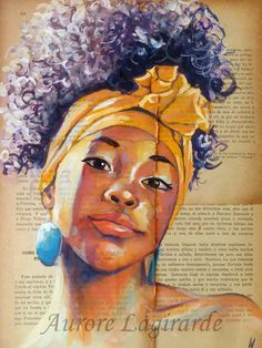 Beautiful portrait by Aurore Lagirarde Black Girl Art, Black Women Art, Art Girl, Art Women, African American Art, African Art, L'art Du Portrait, Portraits, Art Amour