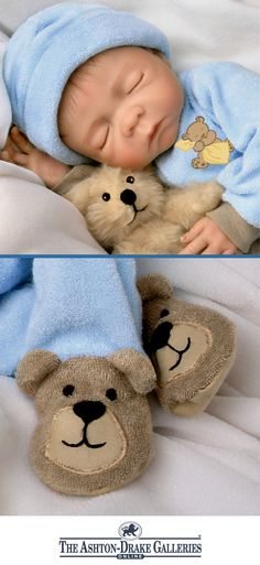 So Truly Real® vinyl baby boy doll by Denise Farmer with hand-painted features wears a teddy-bear footed sleeper and cap. With cuddly plush bear.