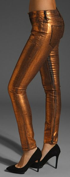 Sinclair Coe coated Foil Leggings in copper