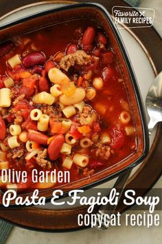 Olive Garden Pasta e Fagioli Soup Copycat Recipe tastes just like the original. This hearty, Italian-seasoned soup is easily made in a slow cooker. Entree Recipes, Beef Recipes, Italian Recipes, Real Food Recipes, Soup Recipes, Vegetarian Recipes, Dinner Recipes, Cooking Recipes, Restaurant Recipes