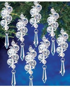 My favorite source for arts and crafts: Iridescent Bubble Danglers Beaded Ornament Kit White Christmas Tree Decorations, Beaded Christmas Ornaments, Christmas Crafts, Diy Ornaments, Felt Christmas, Homemade Christmas, Bubble Christmas, Fall Crafts, Beaded Crafts