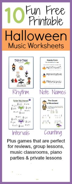 Halloween music theory worksheets--all FREE and super fun!