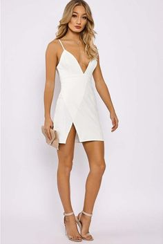 45651df43fee AMBERLEE WHITE STRAPPY PLUNGE SPLIT SIDE DRESS Side Split Dress