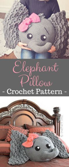 CROCHET PATTERN Josefina and Jeffery Elephant Pillow PDF Crochet Pattern with Instant Download #crochet #elephant #affiliate