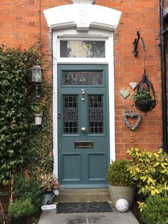 Farrow and Ball Inchyra Blue on our beautiful front door - this is my dream door on our dream home❤