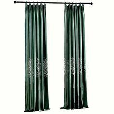 Moderner Vorhang Grün Flanell Stickerei Im Wohnzimmer