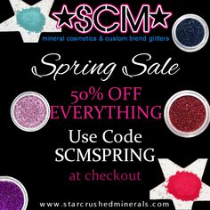 Having a Spring Sale on our website... stop by and take a peek. 50% off EVERYTHING. xoxo  www.starcrushedminerals.com