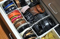 Use IKEA drawer dividers to organize belts | STYLE'N
