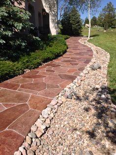 Finished flagstone Quartz Coat walkway.