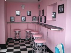 Our retro Baby Rose Pink Liberty Stools exactly where they should be - at a bar!