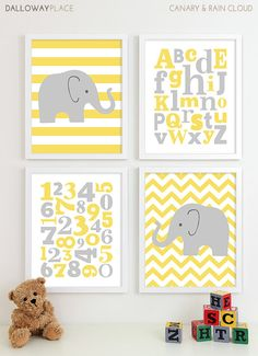 Baby Girl Nursery Art Girls Nursery, Baby Girl Art Room Kids Wall Art, Chevron Elephant Nursery Prints, Alphabet Baby Nursery Decor - 11x14