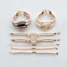 Rope and gemstone bracelets with pyrite, lemon quartz and citrine