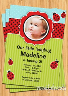 Ladybug Birthday Party Invitation  Kids Red and by eventfulcards, $15.99. Cute for Ava's second bday especially since everyone seems to call her ava bug