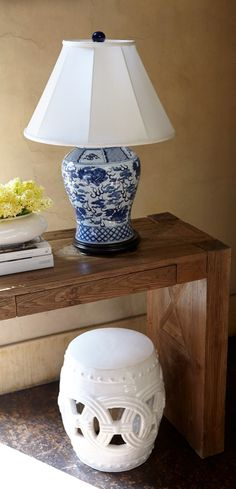 The beauty of blue-and-white chinoiserie takes center stage in the gorgeously handcrafted Large Chinoiserie Table Lamp.